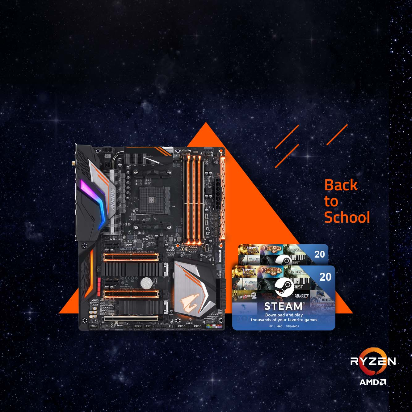 Back to School - Buy the latest GIGABYTE AM4 motherboards get up to €40 FREE STEAM wallet codes!