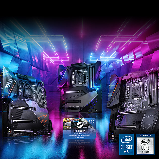 Full Steam Ahead! BUY any of our Intel Z490 motherboards & receive up to €40 Steam Wallet Codes!
